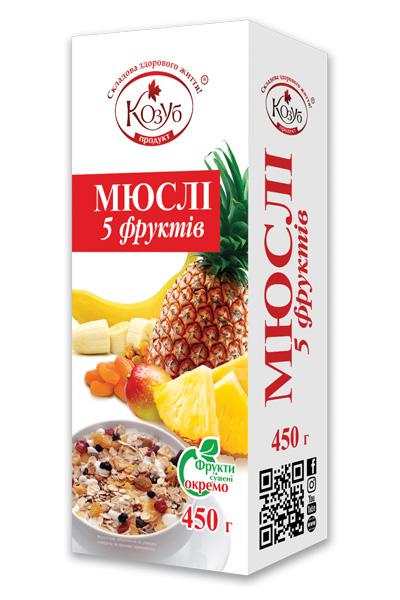 Мюслі 5 фруктів Козуб продукт